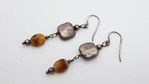 Silpada 925 Silver & Tiger's Eye Dangle Hook Earrings BT479
