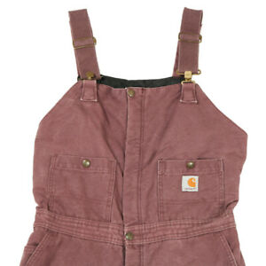 CARHARTT Quilt Lined Dungarees | Small | Bib Workwear Overalls Vintage Canvas