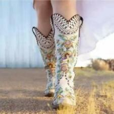 New Women's Pointy Toe Embroidery Block Heels Knee High Boots Floral Shoes size