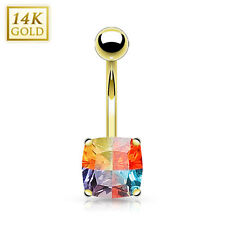 14K Solid GOLD BELLY Button NAVEL Bar RINGS Piercing Jewelry *SQUARE Miracle Gem
