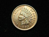 NEW INVENTORY!  AU 1905  INDIAN HEAD CENT PENNY w/ FULL LIBERTY & DIAMONDS #184s