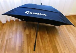"Vtg TaylorMade Double Canopy Black Golf Umbrella 42"" Square x 39""L EUC No Sleeve"