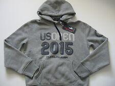 POLO RALPH LAUREN Men's Gray 2015 US Open Cotton Blend Fleece Hoodie L