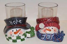 YANKEE CANDLE TOP HAT SNOWMEN HOPE JOY VOTIVE TEA LIGHT CANDLE HOLDER SET GLASS