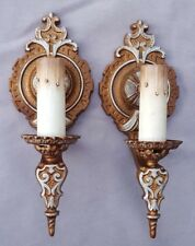 Art Deco Sconces, Cast Iron, Rewired, New Switches,  Sockets & Candle Covers