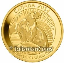 Canada 2014 Untamed Wildlife #3 Wolverine Gulo Gulo $25 1/4 Oz Pure Gold Proof