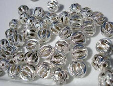 60 Silver Dust Plated 10mm Round Hollow Filigree Bead/beading/findings/Craft Q15