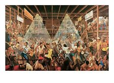 NIGHT LIFE AT THE STUDIO ART PRINT BY ERNEST WATSON ethnic music dancing poster