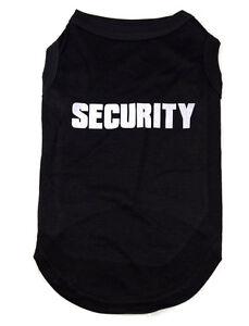 New Premium Cotton Dog T-shirt singlet vest with Security Print Black XS - 5XL