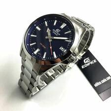 Men's Casio Edifice Silver Stainless Steel Blue Dial Watch EFV100D-2AV