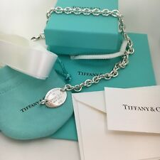 Please Return To Tiffany & Co New York Sterling Silver Oval Tag Choker Necklace
