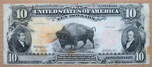 FR 119 1901 $10 UNITED STATES BISON NOTE RED SEAL CIRCULATED PARKER BURKE !!