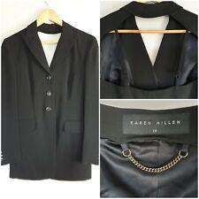 KAREN MILLEN Jacket Size 10 Black Open Back Blazer Vintage VGC Sexy Smart