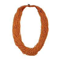 Ethnic Glass Seed Bead Multi Strand Statement Bib Orange Rust Necklace