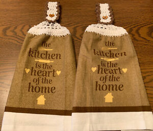 2 Double Sided Crocheted Top The Kitchen Heart Of The Home  Dish Hanging Towels