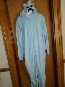 Yeti Rudolph Adult Bodysuit Pajamas One Piece Trap Door Hooded Costume XL NWOT
