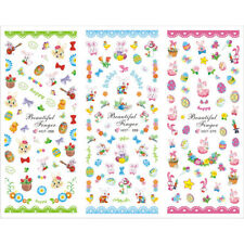Easter Eggs Rabbits Stickers Girls Acrylic Nail Art Cartoon Tattoos Water Decals