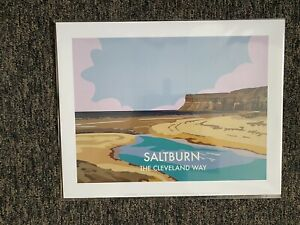 Retro Contemporary Travel Print Poster Saltburn The Cleveland Way 14x11 New