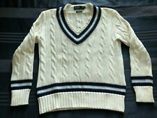 Polo Ralph Lauren Medium Pima Cotton Cream with Navy and Blue Cricket Sweater
