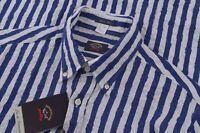 NWT Paul & Shark Yachting Size US 40 15.5 M Dress Shirt 100% Linen Blue White