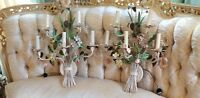 Large Vintage Tole Roses Hydrangea Daisies 5 candleabra each Pair Tole Sconces