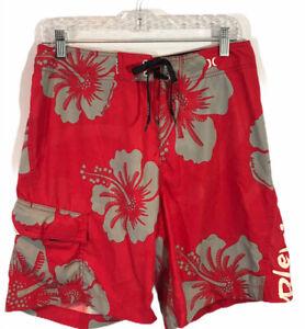 Hurley Men's Swim Trunks with Cargo Pocket - Size 30 - Waterproof Money Holder