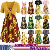 New Summer Women's Casual Short Sleeve Smock Tops Sunflower Mini Dress Suits