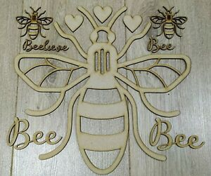 MDF Manchester Bee cut out set, Embellish, Colour, Paint, Glitter,