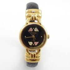 12K Black Hills Yellow Rose Gold Black Leather Hinged Wrist Watch QX