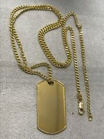 """375 Hallmarked 9ct Yellow Gold Dogtag Neclace Curb Chain Pendant 24"""""""