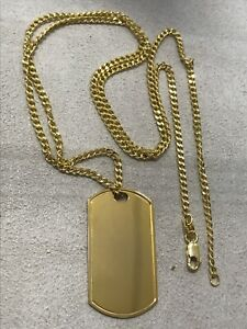 """375 Hallmarked 9ct Yellow Gold Dogtag Pendant+ Neclace Curb Chain Pendant 24"""""""
