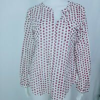 Ann Taylor LOFT Tunic Top Hidden Button Shirt Long Size S White Wine Plaid.