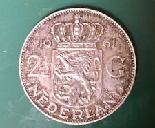 Silver Coin 1963 Netherlands 2.1/2 Dutch Guilders