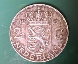 Silver Coin 1963 Netherlands 2.1/2 Dutch Guilders
