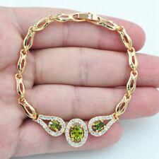 18K Gold Filled Crystal Mystical Topaz Green Oval Emerald Gems Bracelet Jewelry