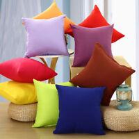 Solid Color Cotton Cushion Cover Home Decor Sofa Car Throw Pillow Case 45*45cm
