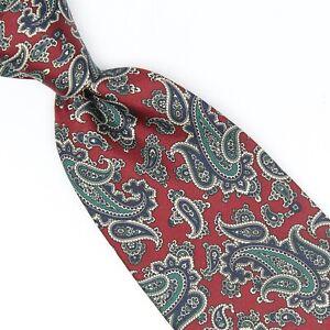 Brooks Brothers Mens Silk Necktie Dark Red Green Blue Paisley Print Tie USA