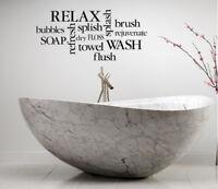 RELAX BATHROOM DECOR SPA LETTERING BATH WORDS VINYL DECOR DECAL WALL ART