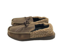 Mens Suede Shearling Moccasin Slippers Moc Toe Slip On Shoes Size 8 Brown
