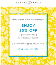 ANTHROPOLOGIE 20% OFF Coupon * In Store & Online *  Exp 6/30/20