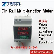 Guida DIN LED AC 200-450v 0-100.0a VOLTMETRO AMPEROMETRO CONTATORE DI ENERGIA display