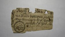 1748 Forty Shillings North Carolina NC Colonial Currency Note Bill RARE 40s USA