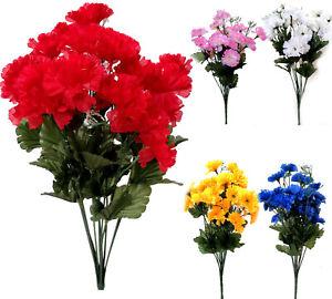 12 Head Artificial Silk Flower Carnation bunch Gyps Wedding Home Grave Outdoor