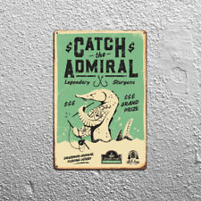 Metal Tin Sign catch the admiral fish Decor Bar Pub Home Vintage Retro Poster