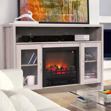 "TV Stand Media Fireplace 43"" Entertainment Storage Wood Console Electric Heater"