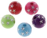 100 Acryl Perlen 8mm Gemischt mit Stern Schmuckherstellung Kunststoffperlen R196