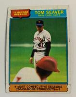 1976 Tom Seaver # 5 8 200 Strikeout Seasons New York Mets NY Topps Baseball Card