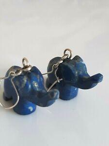 Phantastische ältere Ohrringe Silber 900, wunderschöne Elefanten aus Lapislazuli