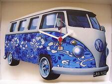 Blue 60's Retro Design Classic VW Camper Van Wall Clock. New & Boxed