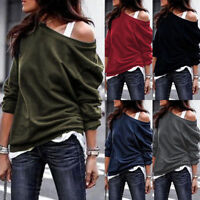 Women Off The Shoulder Jumper Loose Slouch Tops Oversized Blouses Baggy Sweater
